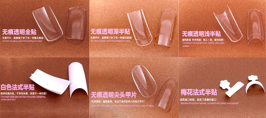 Fake nails in bag for sale nail tips 600 pcs in different sizes,french plain nail tips