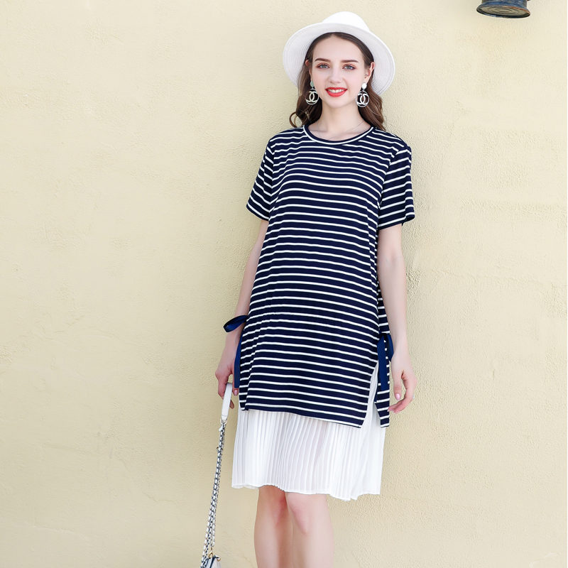 Women Fashion Classic Short sleeves Round Neck Black <strong>White</strong> Striped <strong>Maternity</strong> Wear <strong>Dress</strong>