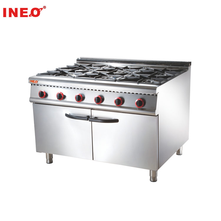 Industrial Commercial Restaurant Stainless Steel 6 Burner With Cabinet Gas Stove Range