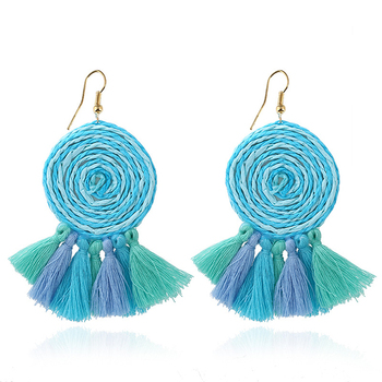 b9e11257db1d21 China factory stock beautiful fringe tassel jewelry silk thread tassel  earrings blue color women earrings