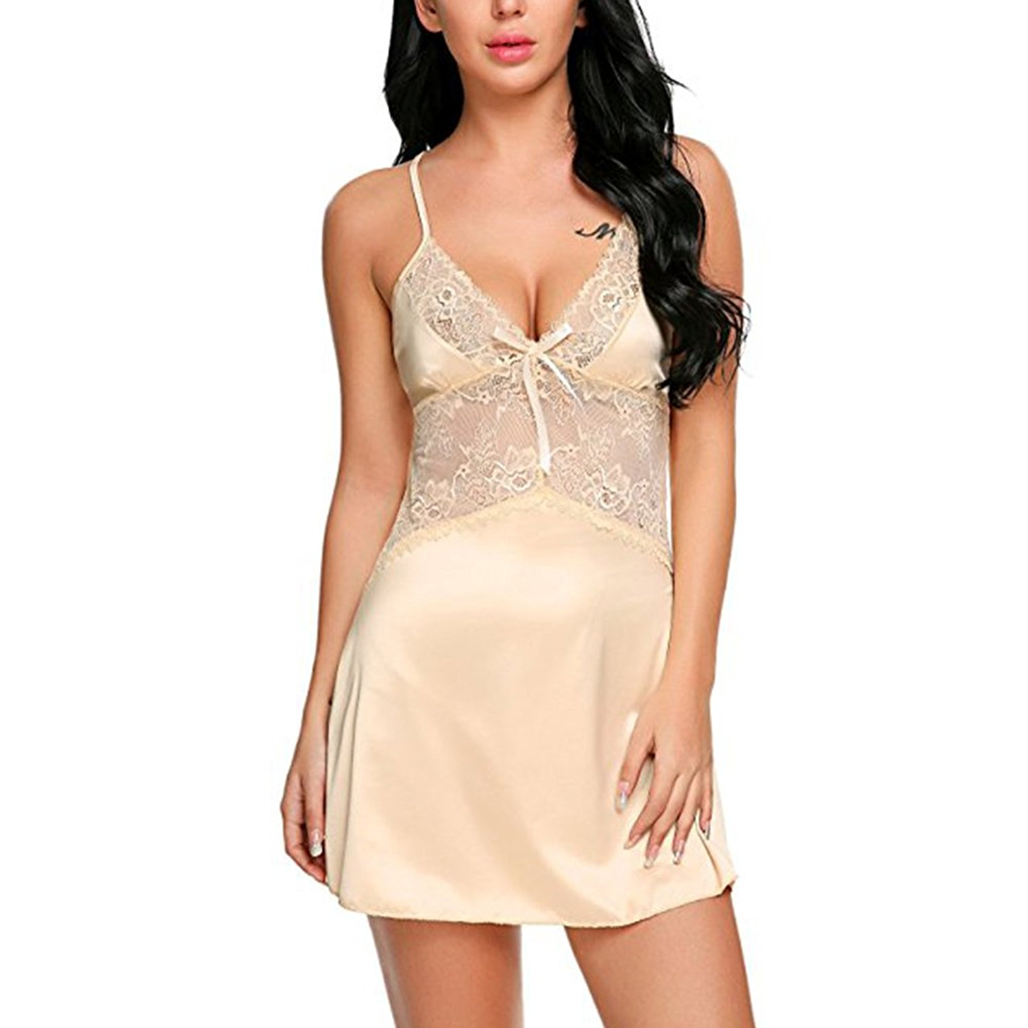 Get Quotations · HUHHRRY Women s Sexy Lace Lingerie V Neck Stain Babydoll  Honeymoon Nightwear Chemise 6aa607df7