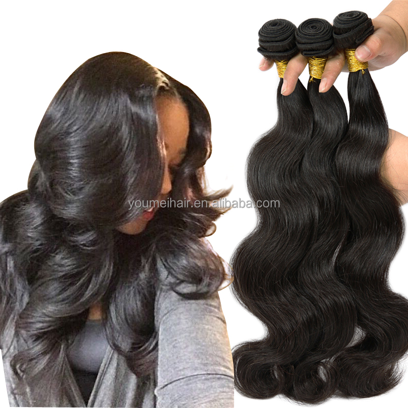 Stocks! Alibaba Wholesale Brazilian Virgin Human Hair Extension, Cheap Body Wavy Human Hair Bundle, Unprocessed Human Hair Weft