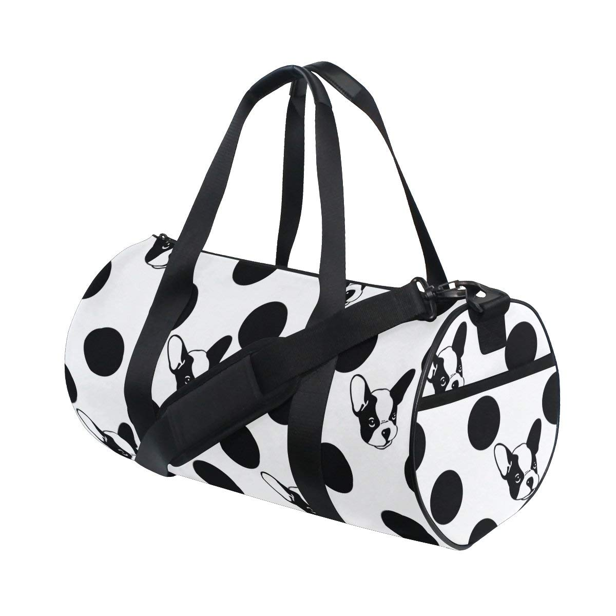 ac6c1751e9 ... Men Women Boys Girls Kids 25.99. Naanle Black And White French Bulldog  Dog Polka Dot Pattern Gym bag Sports Travel Duffle Bags