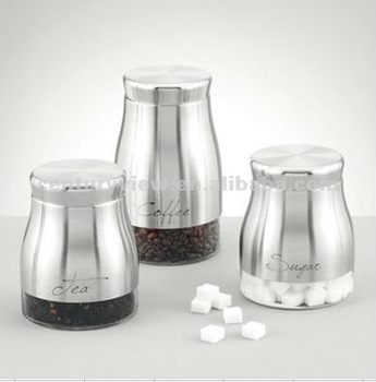 Air Coffee Canisters Tea Sugar Containers White Metal Coat