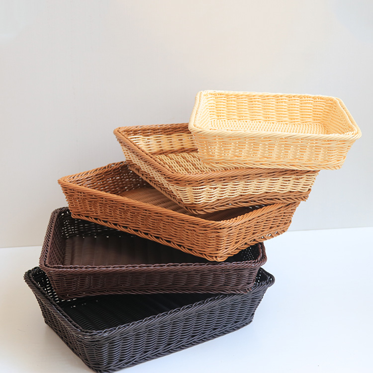 eco-friendly baskets wholesale rectangle plastic rattan serving tray