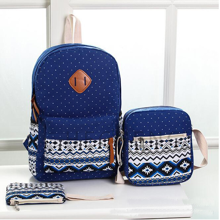 Wholesale durable lightweight <strong>school</strong> 3pcs backpack suit canvas bag
