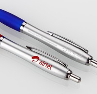 Retractable white promotional plastic office pen