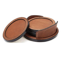 PU leather cup coaster with round design,elegant and vintage