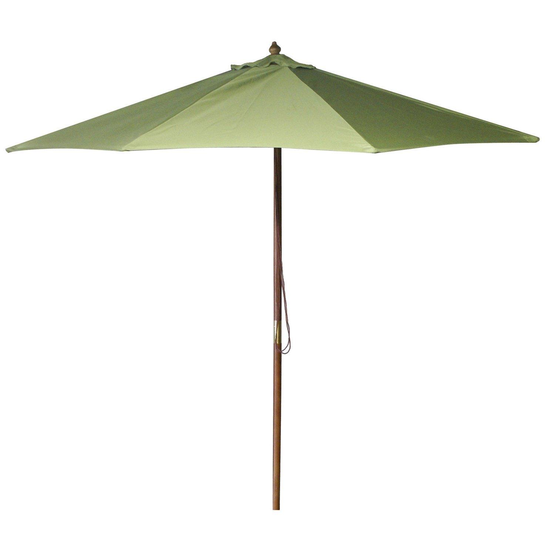 Get Quotations · Green 9 Foot Wood Frame Market / Patio Umbrella