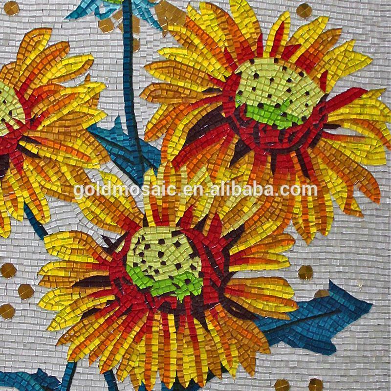 Jy Jh S05 Natural Flor Mosaico Artesanato De Vidro Padrao Pintura
