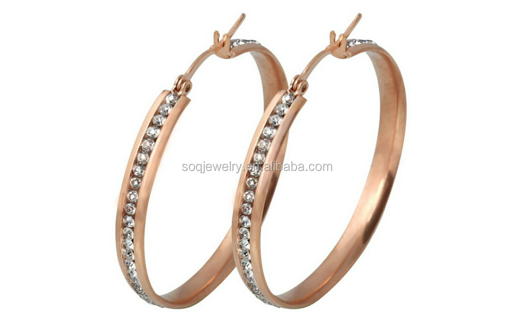 Wholesale Fashion Stainless Steel Rose Gold Plated Crystal Women Big Plain Hoop Earrings