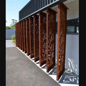 Corten Steel Corrugated Metal Privacy Fence Panels For