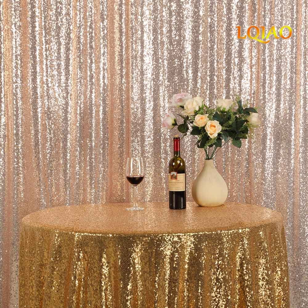 LQIAO Champagne Gold Sequin Backdrop 10ftx8ft photography backdrops wedding photo booth backdrop sequin curtain shimmer baby shower backdrop Halloween/Party/Curtain/Birthday/Halloween/Christmas