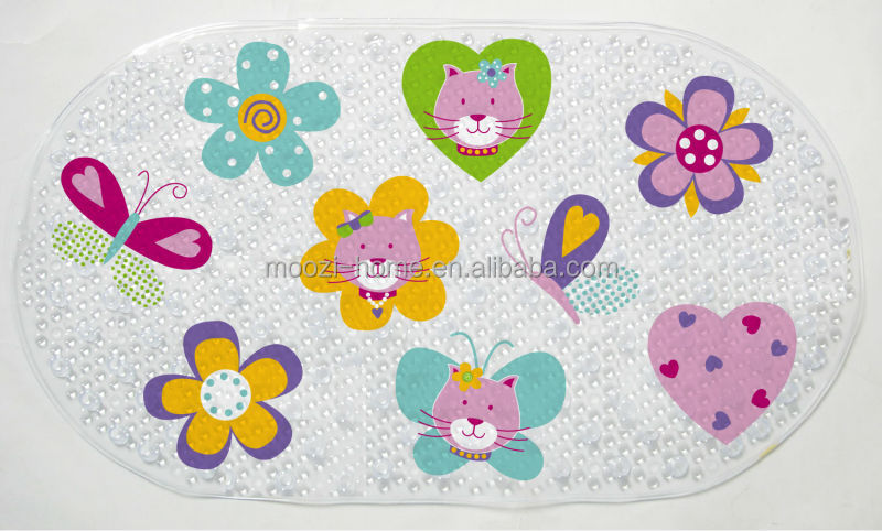 dinosaur printing design pvc bath mat non slip bathroom mat