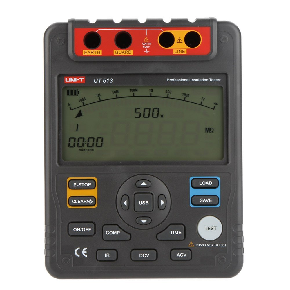 UNI-T UT513 Insulation Resistance Testers Megohmmeter Voltmeter Auto Range 5000V 1000GΩ With USB Interface