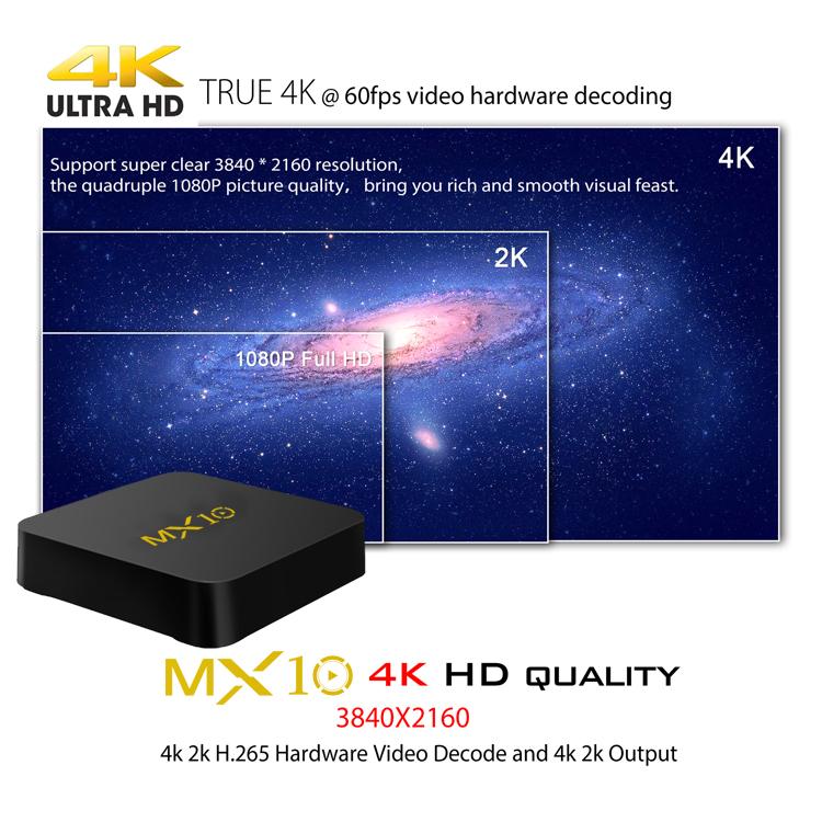 Stable quality 4k MX10 tv box 4gb ram 32gb rom android 7 1 1 tv box