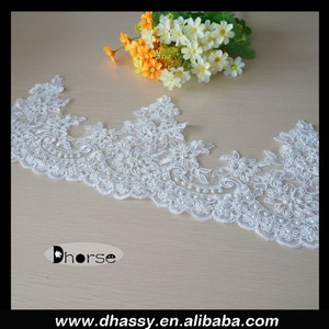 Chinese manufacturer hand sew on pearl beaded bridal lace trim