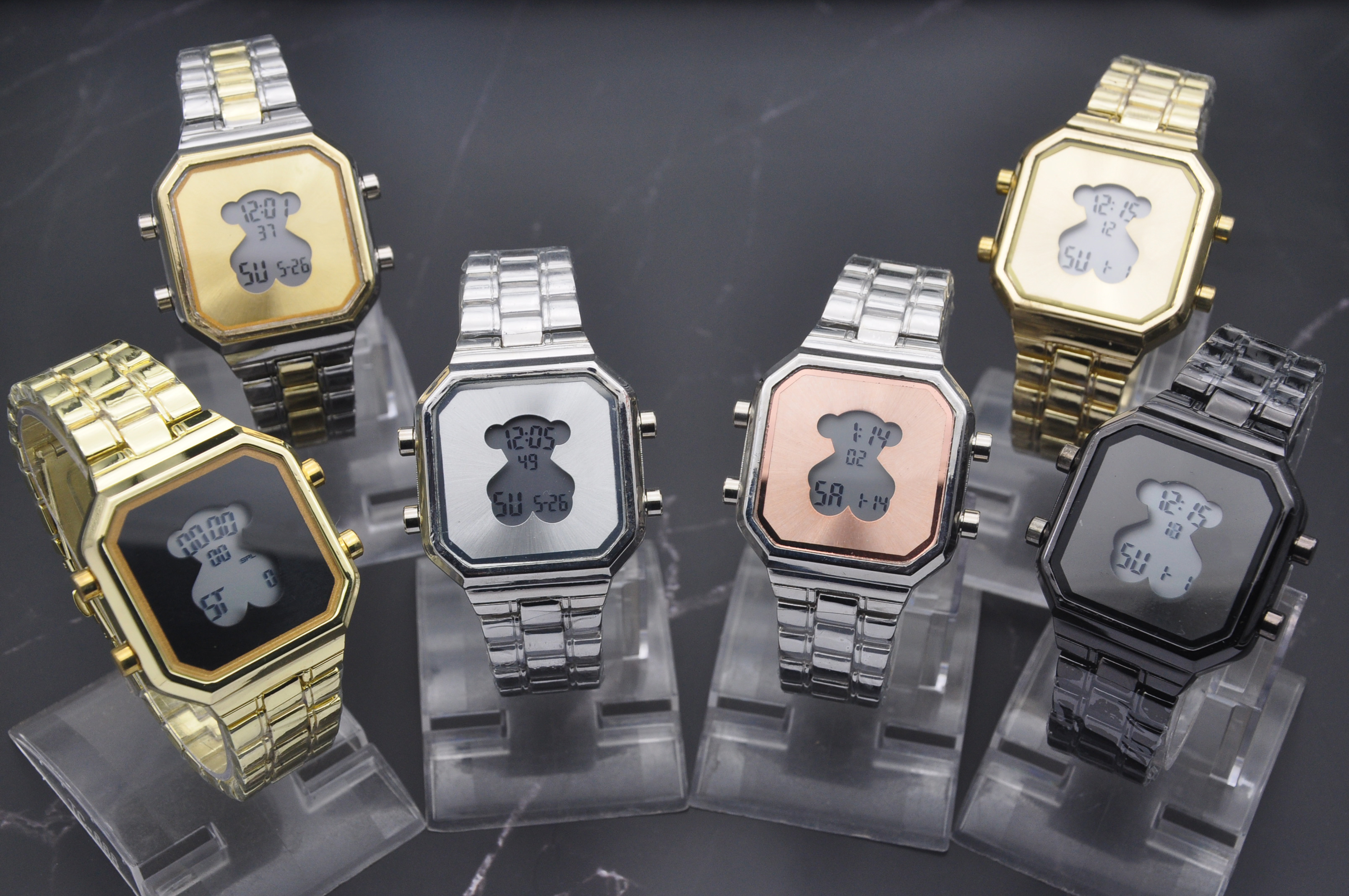 2019 Ebay Hot Sells Stainless Steel Watch Bear Digital Watch Reloj digital