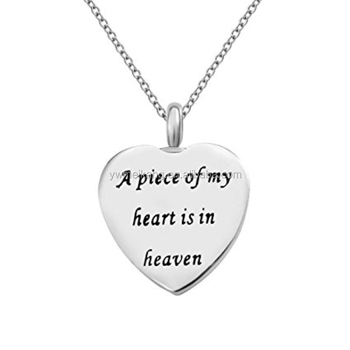 Writing A piece of my heart is in heaven Heart Urn Pendant Cremation Jewelry