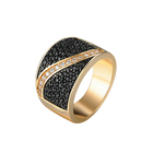 Factory reasonable price black zircon rings 18k gold for men jewelry making supplier