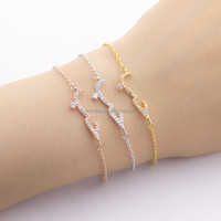 Saudi Arabic Word Letter Charm Gold Plated Bracelet Jewelry Women Girls Happy Birthday Gift Ideas