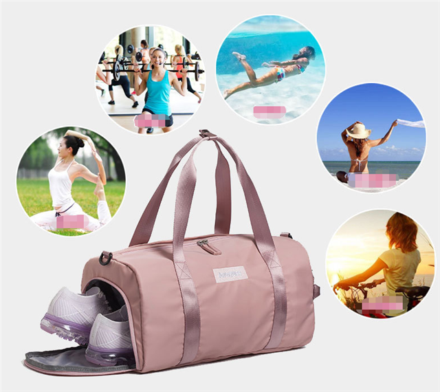 Waterproof nylon promotional women sport bag custom logo gym duffle sport team travel bags with shoe compartmemt for girl sport