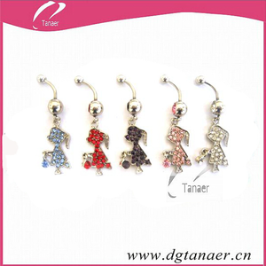 5 Assorted Colors Girl Charms Surgical Steel Cute Dangle Belly Ring