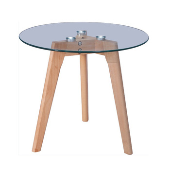 High End Elegant Coffee Table Round Tempered Gl Oak Wooden Legs Side