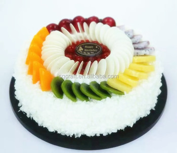 Lifelike Artificial Fruit Creamy Birthday Cake Model For Display