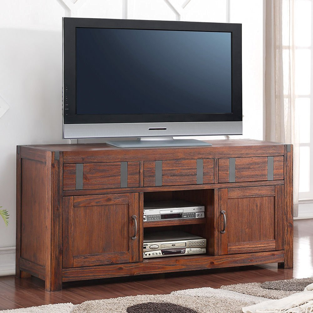 1PerfectChoice Cooper Industrial TV Console Entertainment Stand Cabinet  Rustic Russet Wood