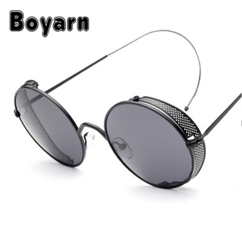 c6ca861f9f8 BOYARN Fashion Steampunk Sunglasses Retro Mesh side cover curved leg Round  Vintage Sun Glasses Metal Frame