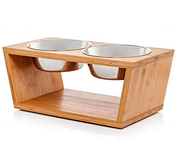 "Premium 7"" Elevated Dog Cat Pet Feeder Double Bowl Raised Stand Comes Extra Two Stainless Steel Bowls Perfect Dogs Cats"