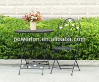 Eco-friendly metal wrought iron black patio garden furniture courtyard bistro set foldable coffee shop table and chair