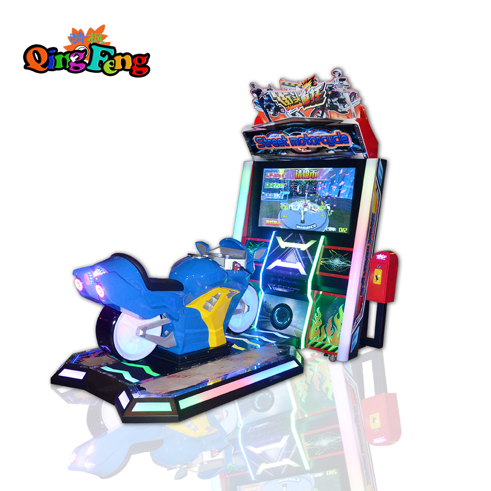 Qingfeng indoor coin operated Dynamic street Motorcycle Gp simulator racing game machine