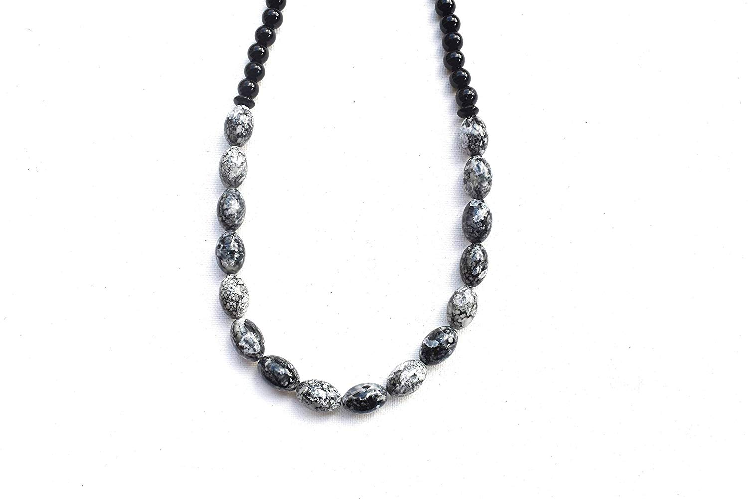 Bib Necklace with Gray, White and Black Barrel Beads - Great for Layering