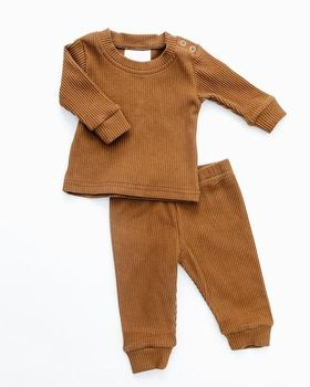 remake fall and winter boutique outfit wholesale ribbed baby clothes