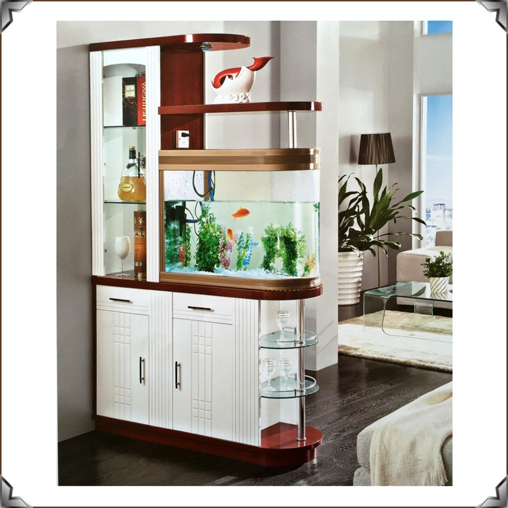 Living Room China Cabinet Hot Selling Glass Room Dividers With Fishbowl S971 Living Room