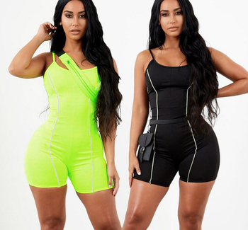 SP1518B 2019 Sexy Backless Patchwork Reflective Strip Women Jumpsuit