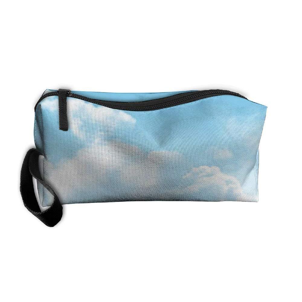 White Clouds Floral Pencil Pen Case Box Cosmetic Makeup Bag Storage Pouch Purse