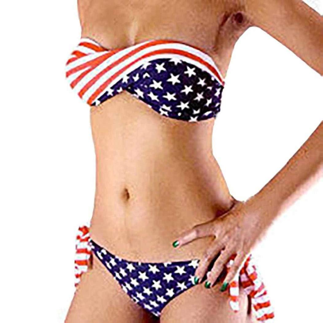 92cfcbd401d7d Get Quotations · Suma-ma Independence Day Women Bikini American Flag  Printed Low Waist Swimwear for Celebrating July