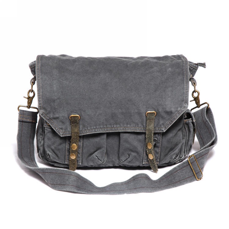 2383 Utility Rugged Washed Khaki Canvas Cross Body Travel Bag ...