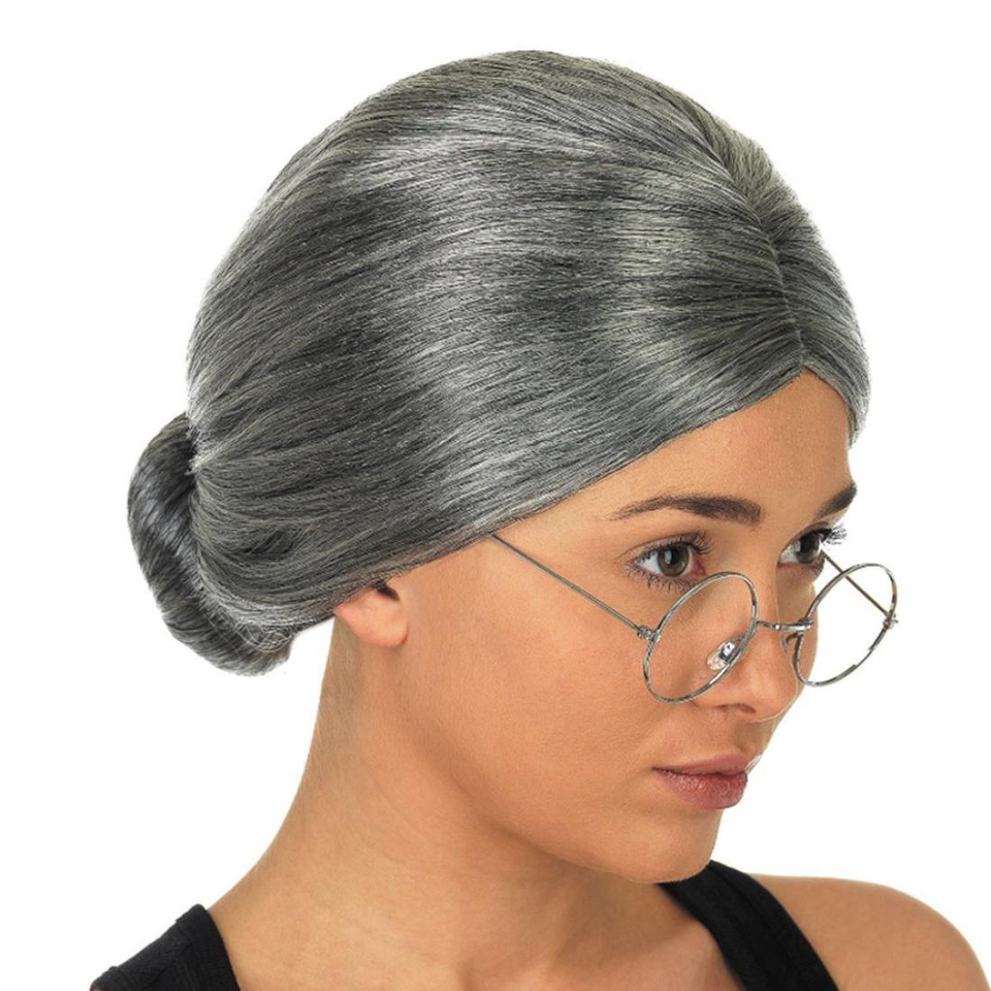Aurorax Old Lady Granny Grey Wig Bun Hair Fancy Cosplay Costume Party Wig (Grey)