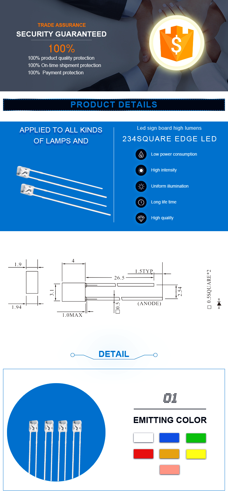 Water Clear Square led Diode 2x3x4mm DIP led Diode
