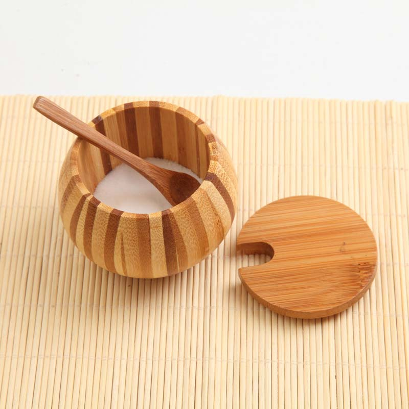 3 Pieces set bamboo salt box, eco-friendly healthful spice container seasoning jar with wooden lid