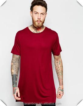 0e3d09c5bb1 Mens Wide Neck Longline Short Sleeve T-Shirt in Red Lycra Elastane Loose  Fit T