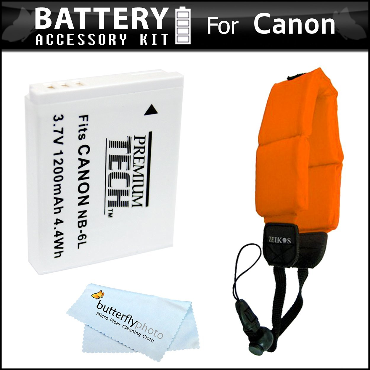 2 Pack Battery Kit For Canon PowerShot D10 D20 Waterproof Digital Camera Includes 2 Extended (1200Mah) Replacement NB-6L Batteries + Floating Strap + MicroFiber Cleaning Cloth