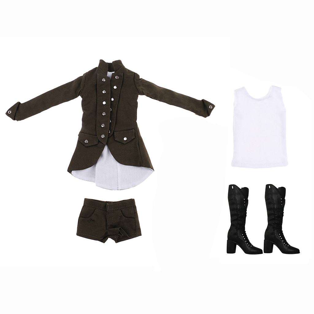 75bdbda919b58 MagiDeal 1/6 Scale Gothic Clothes Coat/Shorts/Vest Set for 12 Inch Woman  Action Figures Body Student Acce