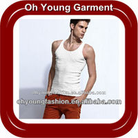 Wholesale Bulk White Gym Tank Top Cotton Spandex Mixed Dry Fit Tank Tops/Singlets With Kangaroo Pocket