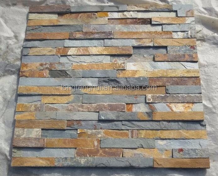 Stacked natural slate stacked stone panels for wall decoration