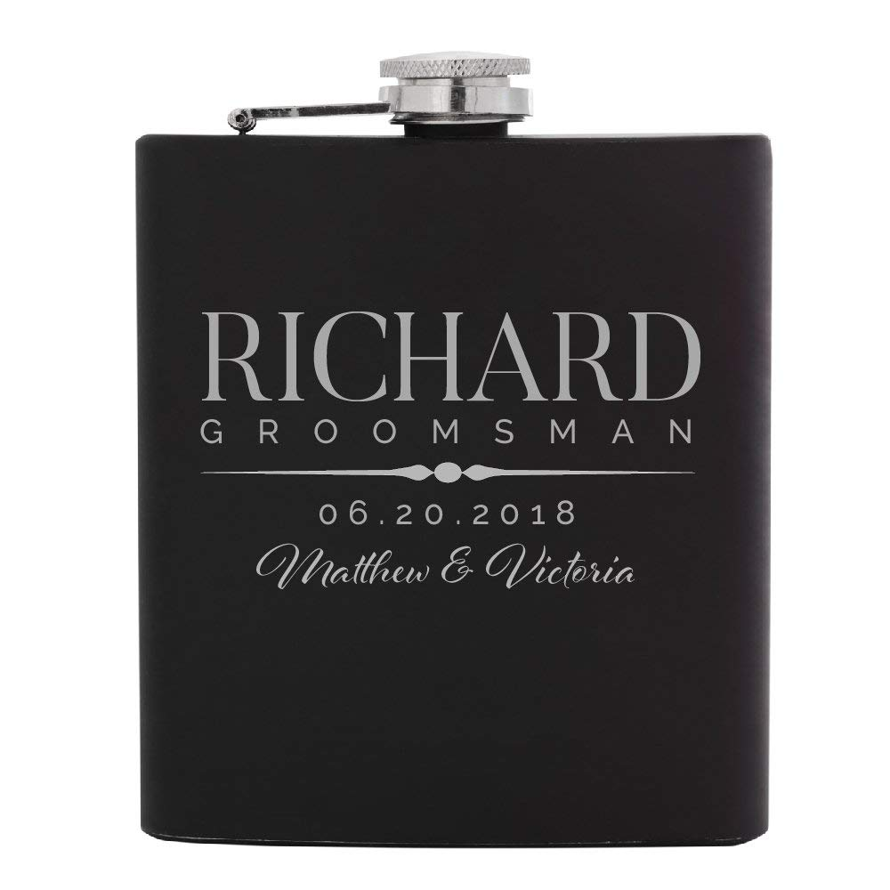 Personalized Flask For Wedding Groomsmen Gift, Customized Flask Set FREE Personalization - Laser Engraved - Design -5 | 1pc